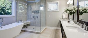 Bathroom installation completely fitted and tiled