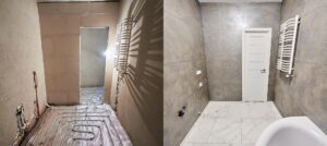 Shower room before and after